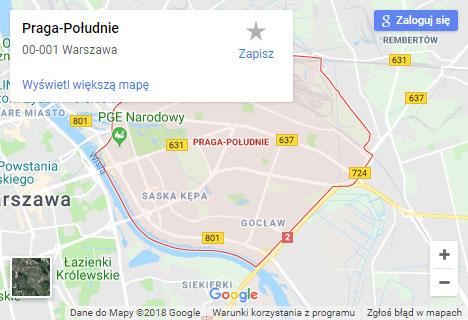 Mapa Google hydraulik Warszawa Praga Południe
